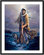 YOMIA Mosaics DIY Cross Stitch Patterns Seascape Diamond Painting by Number Kits Jesus 5D Crystal Rhinestone Diamond Full Drill Embroidery Paint Kits for Adults
