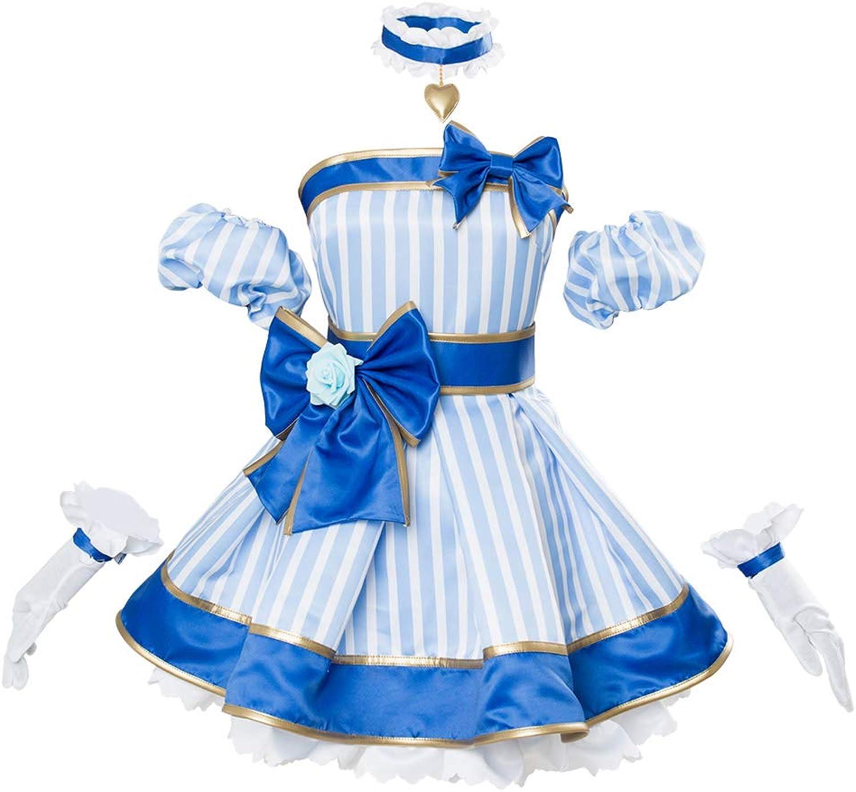 Karnestore A.I.Channel Kizuna AI Cosplay Kostüm Kleid Blau Maanfertigung