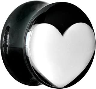 Body Candy Black Acrylic White Heart Saddle Ear Gauge Plug (1 Piece) 5/8""