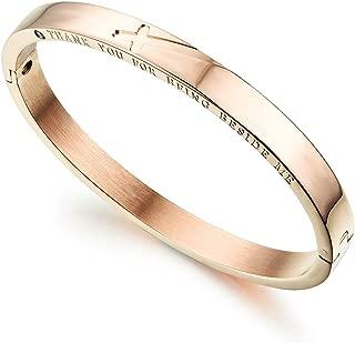 18K Rose Gold Plated Titanium Steel Cross with CZ Bangle Cuff Simple Couple Bracelet
