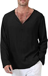 Sponsored Ad - Men Fashion Long Sleeve Rayon Linen Ethnic V Neck Pullover Casual Shirts