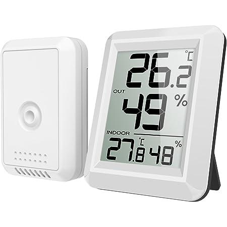 Extsud Digital Innen Und Außenthermometer Funk Thermometer Mit Außensensor Innen Außentemperatur Monitor Mit Lcd Display Min Max Aufzeichnungen Trendtemperaturänderung Schalter Mehrweg Garten