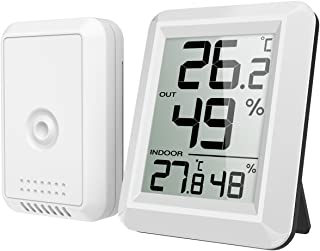 Refrigerator Thermometer, Wireless Indoor Outdoor Digital Freezer Thermometer, Sensor Temperature Monitor with Audible Ala...