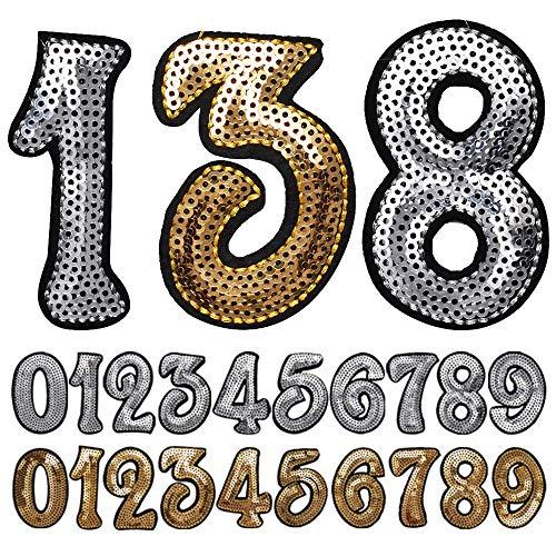 数字 ワッペン スパンコールワッペン アイロン接着 シルバー ゴールド ナンバー キラキラワッペン アイロンワッペン 手芸 ワッペンデコ ワッペンカスタム WAPPEN (シルバー:4)