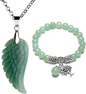Reiki Healing Crystal Quartz Gemstones Jewelry Angel Wings Carved Stone Pendant Necklace Tree of Life Charm Stretch Bracelet Set