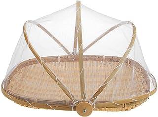 DemiawakingUK Bamboo Food Serving Trays Platters with Food Cover Mesh Tent Wicker Bread Basket Storage Hamper Breakfast Tr...