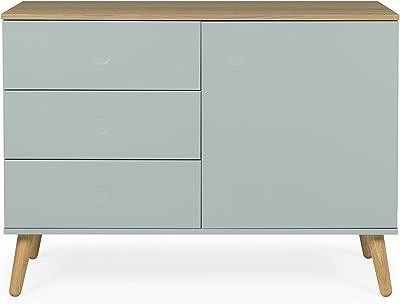 tenzo 1674–676DOT Designer Buffet 1 porte, 3 tiroirs, Sauge/chêne, 79 x 109 x 43 cm (LxHxP)
