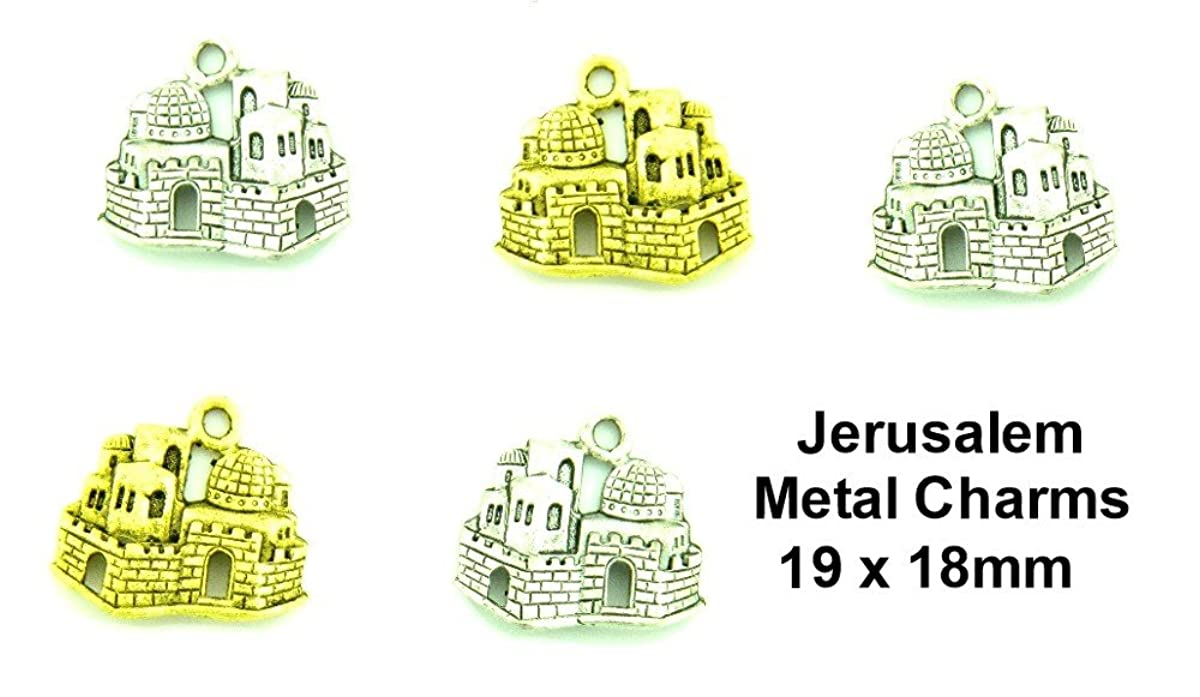 PlanetZia 6pcs Jerusalem Charms Comes in 2 Finishes for Jewelry Making TVT-3374-1 (Antique Silver)
