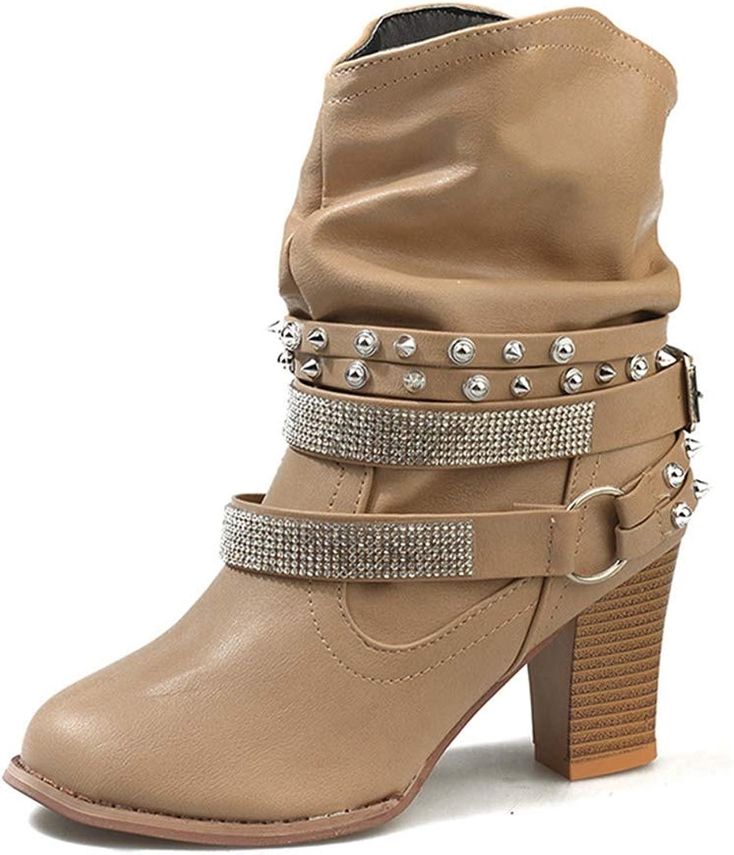 NOMIMAS Women's Block Mid-Calf Boots Square High Heels Belt Buckle Rivet Casual shoes Round Toe Popular