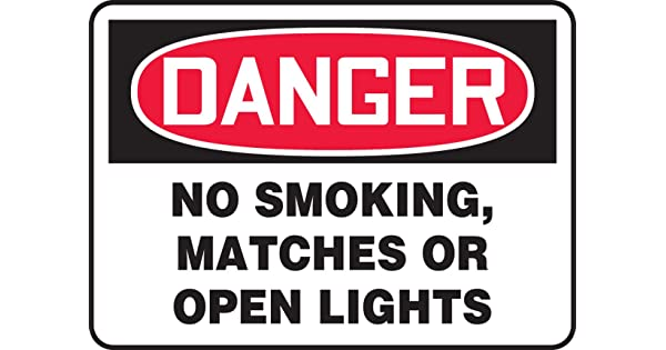 LegendDANGER NO SMOKING MATCHES OR OPEN LIGHTS 10 Length x 14 Width x 0.006 Thickness Red//Black on White Accuform MSMK136XV Adhesive Dura-Vinyl Sign
