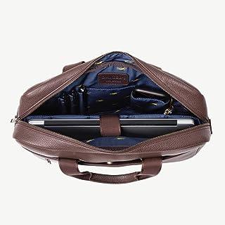 Daniel's 15.5 Inch Premium Italian Leather Briefcase Messenger Bag - Padded Laptop Compartment - Removable/Adjustable Shou...