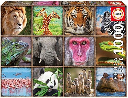 Educa Borrás Selva Puzzle 1000 Collage de Animales Salvajes (17656)