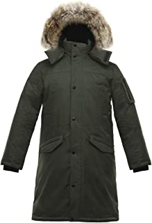Triple F.A.T. Goose SAGA Collection | Eberly II Mens Hooded Goose Down Jacket Parka with Real Coyote Fur