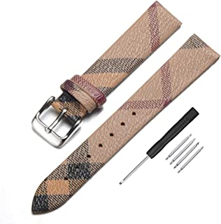 Narako Unisex Genuine Leather Watch Band for Burberry, Calfskin Replacement Plaid Strap 14mm 16mm 18mm 20mm 22mm for Men and Women