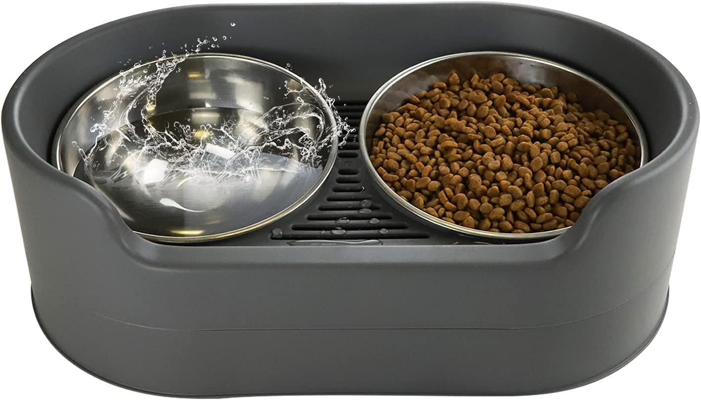 RIZZARI Raised Dog Bowls,Stainless Steel Cat Dog Dish Pet Food and Water Bowls,Elevated with Stand Double Bowl for Small Large Dogs and Cats