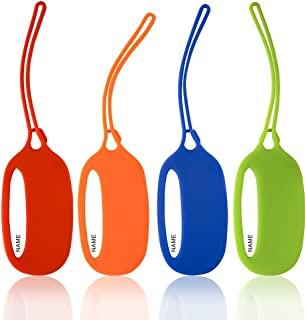 oPesea Small Luggage Tags Kids Backpack Sports/School/Lunch Bag/Suitcase/Travel Baggage Silicone Tag Pet Carriers Name ID Address Anti Lost(4 PACK)