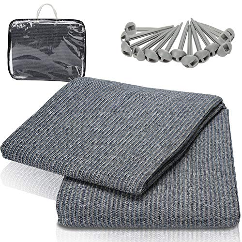 VINGO Zeltteppich Camping Teppich Zeltboden Fasergewebe Outdoor Teppichboden, Atmungsaktiv und Wasserdicht mit 12 Löchern und 13 Heringen, Geeignet für Balkon Wohnmobil