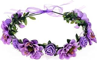 June Bloomy Rose Flower Leave Crown Bridal Halo Headband with Adjustable Ribbon