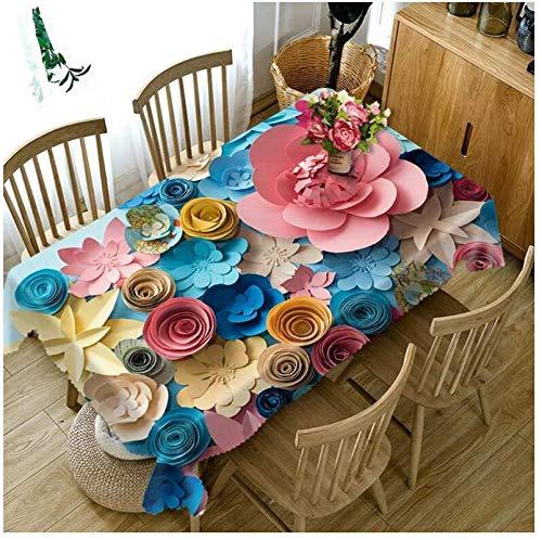 JDCFAS tafelkleed 3D kleur papier bloem milieuvriendelijke tafel huishoudtextiel bloem stofdicht nachtkastje mat 140 cm x 200 cm