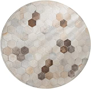 FYD-xml 100% Handmade Cowhide Area Carpet with Hexagonal Stitching Geometric Honeycomb Design Modern Non-Slip Leather Area Rug for Living Room Bedroom Children Playroom Decor,Beige,Diameter1.5m/5'ft
