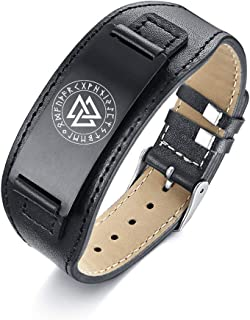 Viking Jewelry Norse Valknut Runes Genuine Leather Stainless Steel Adjustable Band Bracelet,Black/Silver