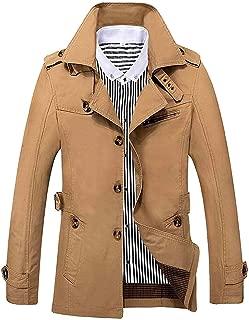 YULEgowinner Men Lapel Collar Overcoat Outwear Wool-Blend Thick Single Breasted Pea Coats