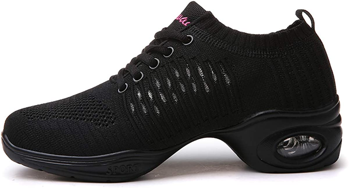 piewau Women's Mesh Jazz Shoes Lady Girls Modern Dance Sneakers Breathable Lightweight