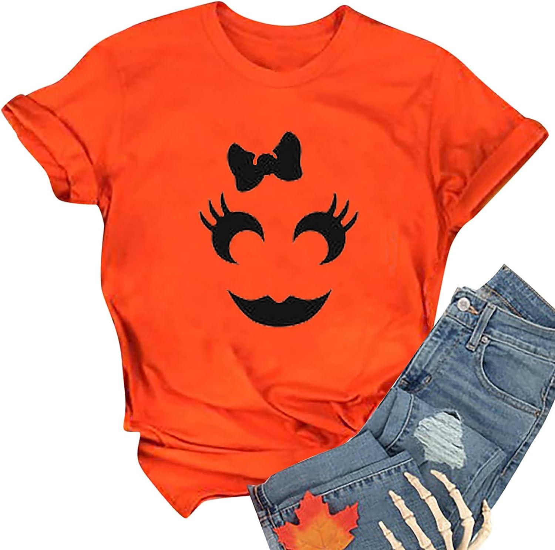 Women Summer Tops Women's Casual O-Neck Pumpkin Face Graphic Printed Short Sleeve T-Shirt Tops