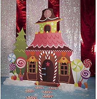 Christmas Gingerbread House Standee Standup Photo Booth Prop Background Backdrop Party Decoration Decor Scene Setter Cardboard Cutout