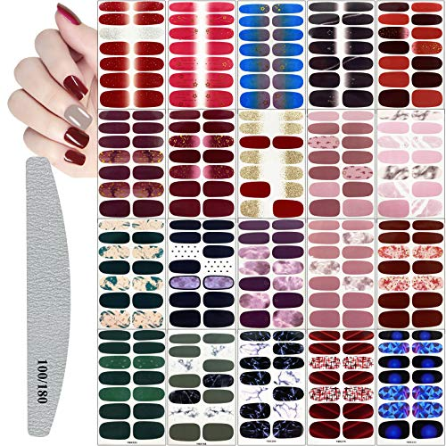280 Pieces Nail Polish Wraps Stickers,Full Wraps Self-Adhesive Nail Art Polish Stickers,Nail Art Decals Strips with Nail Files Set for Women Girls Kids DIY Nail Art Decoration,Assorted Colors