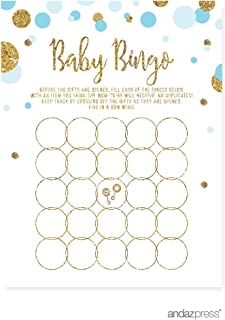 Andaz Press Light Blue Gold Glitter Boy Baby Shower Party Collection, Games, Activities, Decorations, Baby Bingo Game Cards, 20-pack