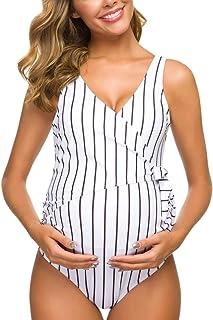 Tempotrek Maternity Swimsuit One Piece Elegant V Neck Pregnancy Swimwear Tie Front High Cut Bathing Suit Monokini