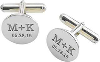 Lovefir 925 Sterling Silver Personalized Wedding Cufflinks Engraved Cufflinks With Date and Initials