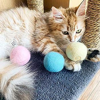 Balle en laine pour chat qui imite les sons des animaux grenouille crickets et oiseaux (bleu)