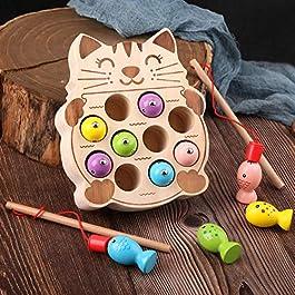 Giochi Montessori Magnetici di Pesca in Legno per 1 2 3 4 5 Anni Bambini, I Primi Giocattolo da Pesca in Legno per I…