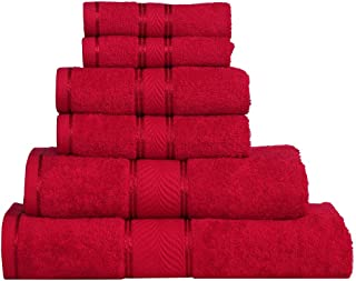 Divine Elegance-Light Weight,100% Cotton, Soft, Absorbent,  Reasonable & Quick Dry -450 GSM-6 Piece Family Towel Set -Festive Red