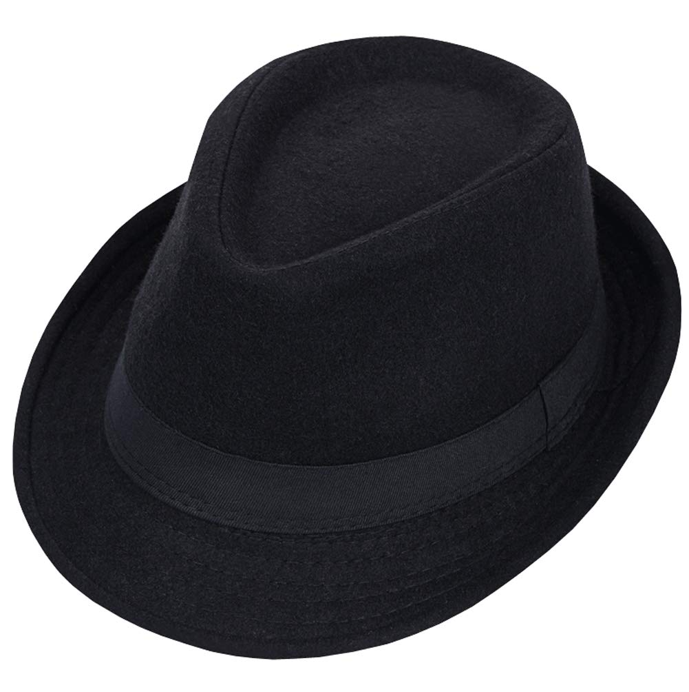 1 Pc Black Classic Fedora Hat Wide Brim Floppy Panama Hat Jazz Wool Cap for Women and Men