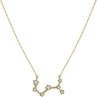 LOYATA Constellation Zodiac Necklace, 14K Gold Plated Horoscope Pendant Necklace Delicate Rhinestone Zodiac Sign Elegant CZ Constellation Necklace for Women