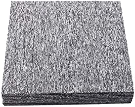 Carpet Tiles 20PCS Commercial Heavy Duty Square Cuttable Carpet Floor Tile with Adhesive Stickers 20x20inch w/Non-Slip Asphalt Bottom Backing for Home Office Hotel Light Grey 20 Tiles/53.8 sq Ft