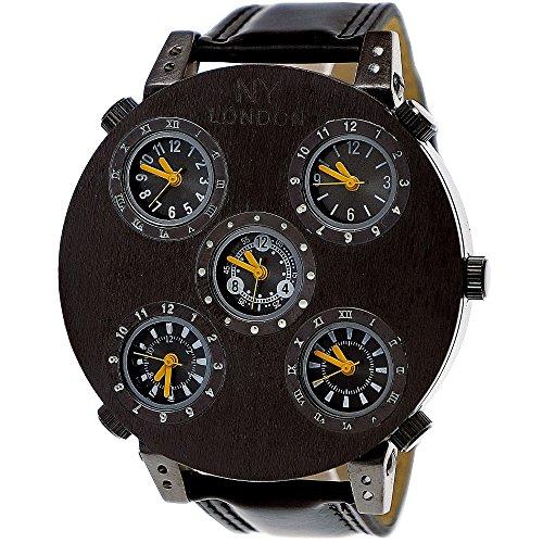 Große XXL Ny London Business Herren-Uhr Designer Armband-Uhr Weltzeit Analog Quarz-Uhr Schwarz Gelb 5 Uhrwerke