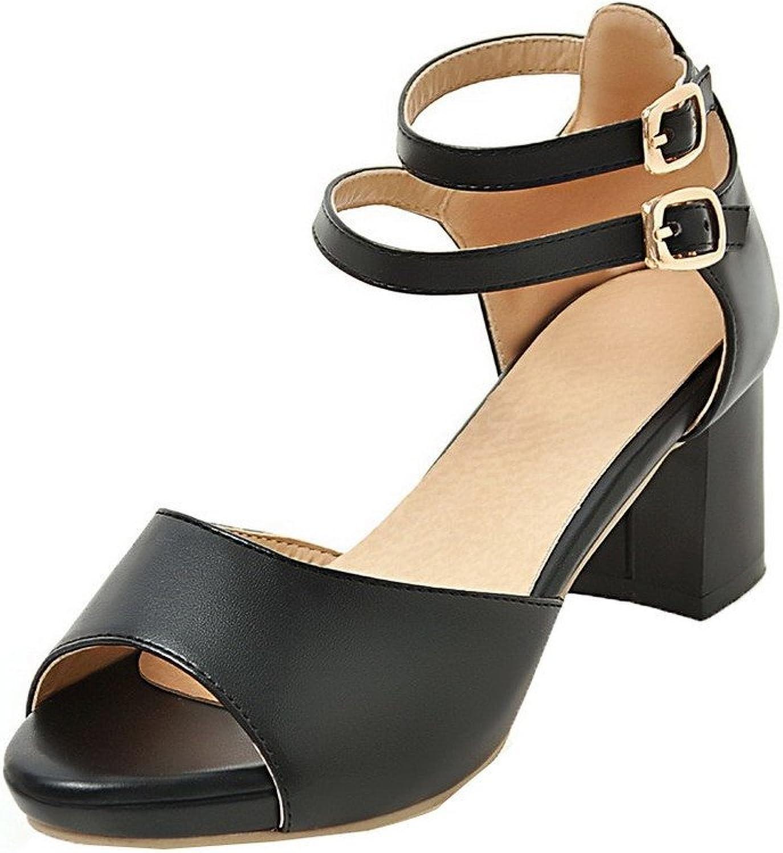 WeiPoot Women's Solid PU Kitten-Heels Open Toe Buckle Sandals
