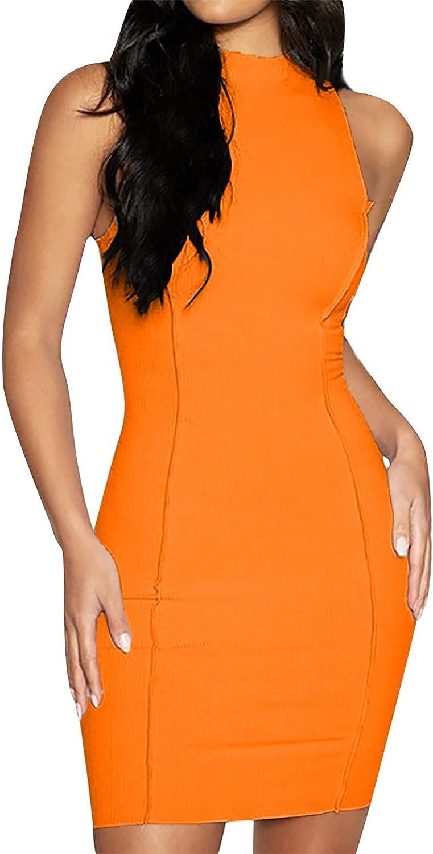 Sun Dresses Women Summer Fashion Women Soild Asymmetrical Halter Tank Dress Short Basic Midi Club Dress Womens Dresses
