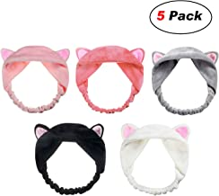 Adecco LLC 5 Pack Cat Ear HairBand, Washing Face Shower Headbands, Makeup Hairbands, Beauty Lovely Spa Headbands For Women Girls Running Sport (Cat Ear)