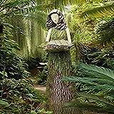 Dheera Fairy Statue Holding Bird Feeder, Sherwood Fern Fairy Statuary Super Cute Resin Ornament Leaf-Shaped Birdseed Holder Statue for Home Outdoor Garden Park