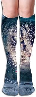 Hunter qiang, Space Cat - Calcetines hasta la rodilla para mujer, largo: 50 cm