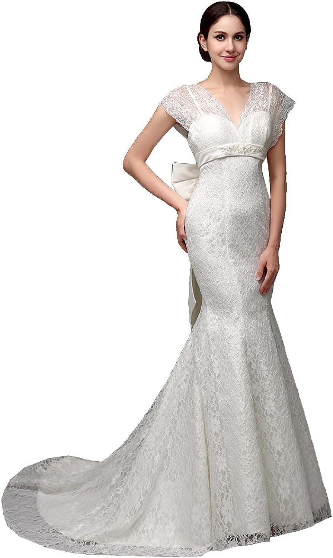 BeautyEmily Cap Sleeve Empire VNeck Chapel Train Bowknot Wedding Gowns