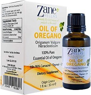 Zane Hellas 100% Undiluted Oregano Oil. Pure Greek Essential Oil of Oregano .86% Min Carvacrol. 129 mg Carv...