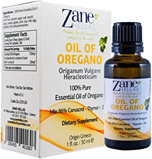 Zane Hellas 100% Undiluted Oregano Oil. Pure Greek Wild Essential Oil of Oregano .86% Min Carvacrol. 129 mg Carvacrol Per Serving. Probably The Best Oregano Oil in The World. 1 fl. oz.- 30ml.