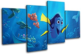 Bold Bloc Design - Finding Dory Nemo Movie Greats 80x45cm MULTI Canvas Art Print Box Framed Picture Wall Hanging - Hand Made In The UK - Framed And Ready To Hang