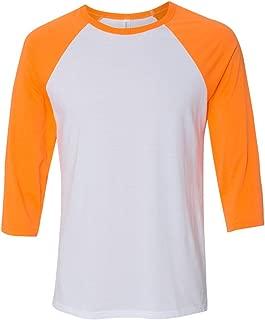 Canvas Unisex 3/4-Sleeve Baseball T-Shirt, WHT/NEON ORANGE